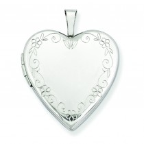 Flower Vine Border Heart Locket in 14k White Gold