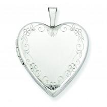 Flower Vine Border Heart Locket in 14k White Gold