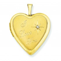I Love You Diamond Heart Locket in 14k Yellow Gold