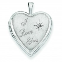 I Love You Diamond Heart Locket in 14k White Gold