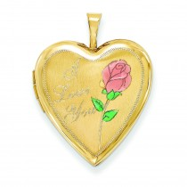 Enamel Rose I Love You Heart Locket in 14k Yellow Gold