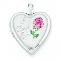 Enamel Rose I Love You Heart Locket in 14k White Gold