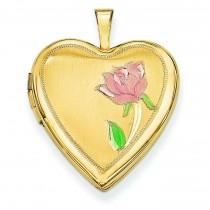 Enamel Rose Heart Locket in 14k Yellow Gold