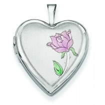Enamel Rose Heart Locket in 14k White Gold