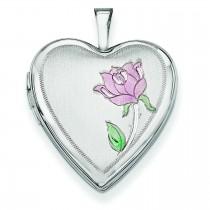 Enamel Rose Heart Locket in 14k White Gold