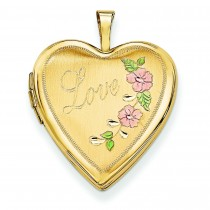 Enamel Flowers Love Heart Locket in 14k Yellow Gold