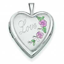 Enamel Flowers Love Heart Locket in 14k White Gold