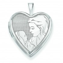 Mother Child Heart Locket in 14k White Gold