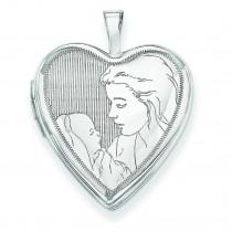 Mother Child Heart Locket in 14k White Gold
