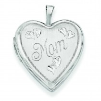 Mom Hearts Heart Locket in 14k White Gold