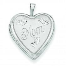 Mom Hearts Heart Locket in 14k White Gold