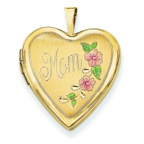 Enamel Flowers Mom Heart Locket in 14k Yellow Gold