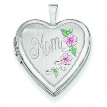 Enamel Flowers Mom Heart Locket in 14k White Gold