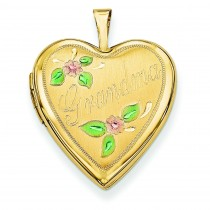 Enamel Flowers Grandma Heart Locket in 14k Yellow Gold
