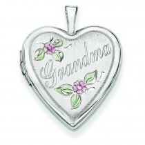 Enamel Flowers Grandma Heart Locket in 14k White Gold