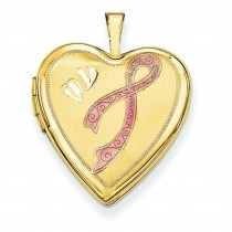 Enamel Breast Cancer Hearts Heart Locket in 14k Yellow Gold