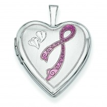 Enamel Breast Cancer Hearts Heart Locket in 14k White Gold