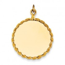 Plain Circular Engraveable Disc Rope Charm in 14k Yellow Gold