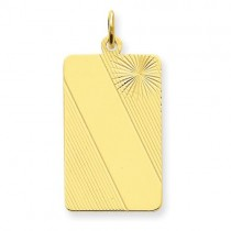 Patterned Engraveable Dog Tag Disc Charm in 14k Yellow Gold