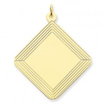 Etched Design Diamond Engraveable Disc Charm in 14k Yellow Gold