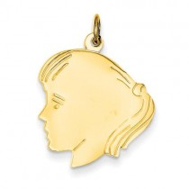 Girl Head Charm in 14k Yellow Gold