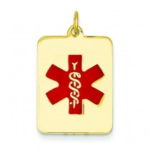 Medical Jewelry Pendant in 14k Yellow Gold