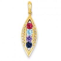 Family Jewelry Genuine Stone Diamond Set Pendant in 14k Yellow Gold