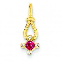 Family Jewelry Diamond Semi Set Pendant in 14k Yellow Gold