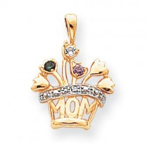 Genuine A Diamond Mother Pendant in 14k Yellow Gold