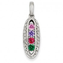 Family Jewelry Genuine Stone Diamond Set Pendant in 14k White Gold