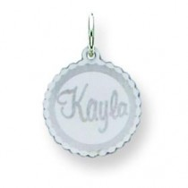 Scalloped Disc Nameplate in 14k White Gold