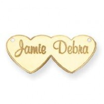 Double Heart Nameplate in 14k Yellow Gold
