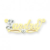 Diamond Name Plate in 14k Two-tone Gold