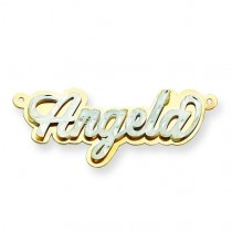 Diamond Cut Name Plate in 14k Two-tone Gold