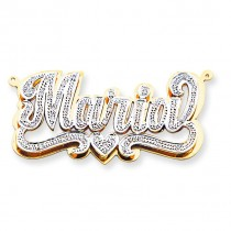 Diamond Name Plate Pendant in 14k Yellow Gold