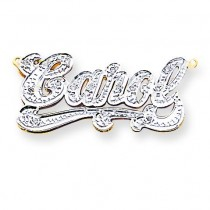 Diamond Name Plate Pendant in 14k Yellow Gold