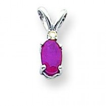 Oval by Diamond Pendant in 14k White Gold