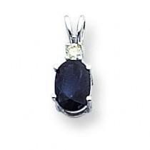 Oval Sapphire Diamond Pendant in 14k White Gold