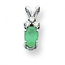 Diamond  Emerald Pendant in 14k White Gold