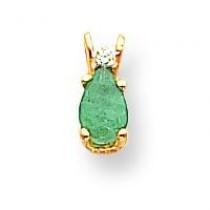 Diamond  Emerald Pendant in 14k Yellow Gold