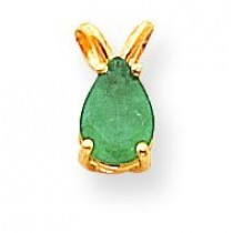 Diamond  Emerald Pendant in 14k Yellow Gold