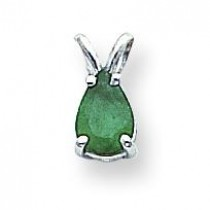 Emerald Pendant in 14k White Gold