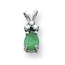 Emerald Diamond Pendant in 14k White Gold