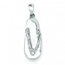 Completed Diamond Sandal Pendant in 14k White Gold