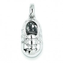 Diamond Baby Boy Shoe Pendant in 14k White Gold