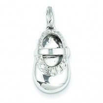 Diamond Baby Girl Shoe Pendant in 14k White Gold
