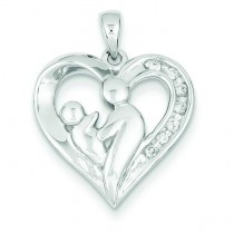 Mother Baby Diamond Heart Pendant in 14k White Gold
