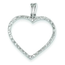 Completed Diamond Vintage Heart Pendant in 14k White Gold