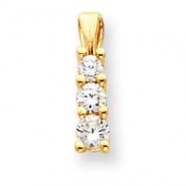 Diamond Three Stone Pendant in 14k Yellow Gold