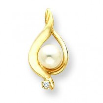 Pearl Diamond Pendant in 14k Yellow Gold